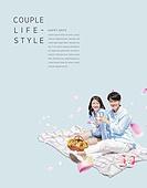 그래픽이미지, 편집디자인, 포스터, 커플, 커플 (인간관계), 프로포즈, 라이프스타일, 미니멀라이프 (컨셉), 파스텔톤 (색상강도), 남성, 여성, 소풍 (아웃도어)