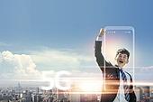 그래픽이미지, 4차산업혁명 (산업혁명), 5G, 컴퓨터네트워크 (컴퓨터장비), 강렬한빛 (발광), 스마트폰, 라이프스타일, 화이트칼라 (전문직), 성공