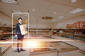 그래픽이미지, 4차산업혁명 (산업혁명), 5G, 컴퓨터네트워크 (컴퓨터장비), 강렬한빛 (발광), 스마트폰, 라이프스타일, 화이트칼라 (전문직), 쇼핑 (상업활동)
