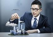 그래픽이미지, 비즈니스, 비즈니스맨, 화이트칼라 (전문직), 미니멀 (구도), 컨셉, 상상력 (컨셉), 성공, 응시 (감각사용), 테이블, 홀로그램