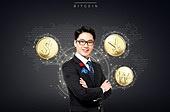 그래픽이미지 (Computer Graphics), 비즈니스, 금융, 비트코인, 가상화폐, 은행 (금융빌딩), 비즈니스맨