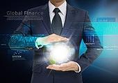 그래픽이미지, 합성, 4차산업혁명 (산업혁명), 비즈니스, 금융, 홀로그램, 5G, 은행 (금융빌딩), 그래프, 비즈니스맨