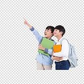 PNG, 누끼 (컷아웃), 어린이 (인간의나이), 초등학생, 소년, 두명, 친구, 책, 공부