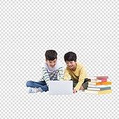 PNG, 누끼 (컷아웃), 어린이 (인간의나이), 초등학생, 소년, 두명, 친구, 책, 공부, 코딩, 코딩교육