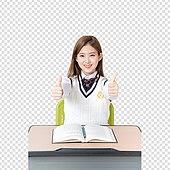 PNG, 누끼 (컷아웃), 한국인, 고등학생, 교복, 여학생, 공부, 책상
