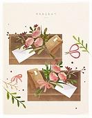 포장, 상자, 꽃, 선물 (인조물건), 선물상자 (상자), 오브젝트 (묘사), 봄, 잎