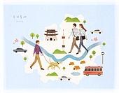 대한민국 (한국), 랜드마크, 여행, 지도, 한강 (강), 서울 (대한민국)