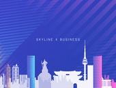 도시, 고층빌딩 (회사건물), 실루엣, 비즈니스, 스카이라인, 백그라운드