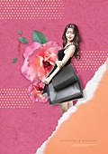 그래픽이미지, 레이아웃, 레트로스타일 (컨셉), 종이, 재질, 패턴, 쇼핑 (상업활동), 여성, 꽃