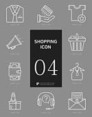 아이콘세트 (아이콘), 라인아이콘, 쇼핑 (상업활동), 상업이벤트 (사건), 세일 (사건), 옷 (인조물건), 패션, 상점, 인터넷뱅킹 (전자상거래), 온라인쇼핑