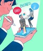 일러스트, 스마트폰, 휴대폰 (전화기), 라이프스타일 (주제), SNS (기술), 비즈니스, 사업관계 (비즈니스), 아이디어