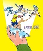 일러스트, 스마트폰, 휴대폰 (전화기), 라이프스타일 (주제), SNS (기술), 스포츠