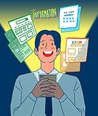 일러스트, 스마트폰, 휴대폰 (전화기), 라이프스타일 (주제), SNS (기술), 인터넷서핑 (격언), 웹모바일 (유저인터페이스)
