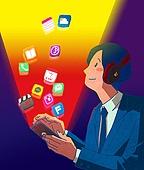 일러스트, 스마트폰, 휴대폰 (전화기), 라이프스타일 (주제), SNS (기술), 정보매체 (정보장비), 자료 (정보매체), 모바일앱 (인터넷)