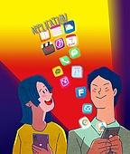 일러스트, 스마트폰, 휴대폰 (전화기), 라이프스타일 (주제), SNS (기술), 대중매체 (주제), 모바일앱 (인터넷), 어플리케이션 (컴퓨터소프트웨어)