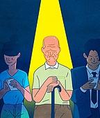 일러스트, 스마트폰, 휴대폰 (전화기), 라이프스타일 (주제), SNS (기술), 노인 (성인), 소외, 양극화 (사회현상)