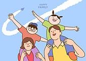 가족, 부모, 어린이 (인간의나이), 가정의달 (홀리데이), 5월, 목마 (어깨에올리기)