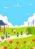 일러스트, 전통축제 (홀리데이), 연례행사 (사건), 라이프스타일 (주제), 장미, 공원, 봄, 소풍 (아웃도어)