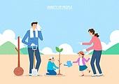 캐릭터, 일러스트, 직업, 사람들, 식목일, 식목 (환경보호), 환경운동가 (역할), 공동체밭 (채소밭), 가정의달