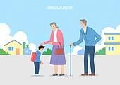 캐릭터, 일러스트, 직업, 사람들, 가족, 노인 (성인), 인사 (제스처), 할머니 (조부모), 할아버지 (조부모)