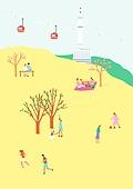 여행, 풍경 (컨셉), 카피스페이스 (콤퍼지션), 사람, 휴가, 한국 (동아시아), 여행지, 봄, 서울 (대한민국), 소풍, 남산 (서울), 케이블카
