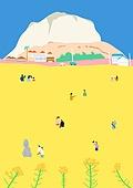 여행, 풍경 (컨셉), 카피스페이스 (콤퍼지션), 사람, 휴가, 한국 (동아시아), 여행지, 봄, 제주시 (제주도), 돌하르방 (한국전통), 유채꽃
