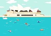 여행, 풍경 (컨셉), 카피스페이스 (콤퍼지션), 사람, 휴가, 호주 (오세아니아), 오페라하우스 (엔터테인먼트빌딩)