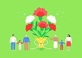 가정의달 (홀리데이), 5월, 기념일, 사람, 카네이션, 꽃, 카네이션 (패랭이꽃), 선물 (인조물건), 감사, 어버이날 (홀리데이), 부모 (가족구성원), 꽃다발