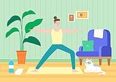 팬츠드렁크, 집, 편안함 (컨셉), 라이프스타일, 휴식, 요가, 고양이 (고양잇과)
