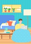 팬츠드렁크, 집, 편안함 (컨셉), 라이프스타일, 휴식, 고양이 (고양잇과), 노트북컴퓨터 (개인용컴퓨터), 소파