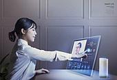그래픽이미지, 합성, 4차산업혁명 (산업혁명), 화상통화, 영상, 5G, 액정화면 (영상화면), 터치스크린 (장비), 여성, 교육 (주제), 여학생