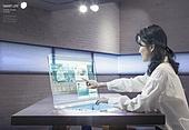 그래픽이미지, 합성, 4차산업혁명 (산업혁명), 화상통화, 영상, 5G, 액정화면 (영상화면), 터치스크린 (장비), 여성