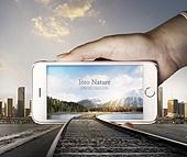 그래픽이미지, 합성, 프레임, 액정화면 (영상화면), 여행, 휴식, 도로, 속도 (컨셉), 도시, 풍경 (컨셉), 스마트폰