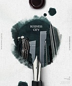 그래픽이미지, 합성, 잉크, 번짐, 오브젝트 (묘사), 탑앵글 (카메라앵글), 포스터, 도시, 비즈니스, 펜 (필기구)