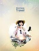 그래픽이미지, 포스터, 레이아웃, 여행, 캘리그래피 (문자), 번짐, 휴가, 랜드마크, 여성, 파스텔톤