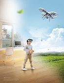 그래픽이미지, 합성, Virtual Reality (Concepts), 가상현실 (컨셉), 4차산업혁명 (산업혁명), 자연풍경 (교외전경), 실내, 환상, 행동 (모션), 어린이 (인간의나이), 드론