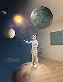 그래픽이미지, 합성, Virtual Reality (Concepts), 가상현실 (컨셉), 4차산업혁명 (산업혁명), 자연풍경 (교외전경), 실내, 환상, 행동 (모션), 어린이 (인간의나이), 우주 (자연현상)