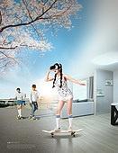 그래픽이미지, 합성, Virtual Reality (Concepts), 가상현실 (컨셉), 4차산업혁명 (산업혁명), 자연풍경 (교외전경), 실내, 환상, 행동 (모션), 여성, 벚꽃, 롱보드스케이팅
