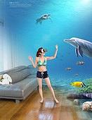 그래픽이미지, 합성, Virtual Reality (Concepts), 가상현실 (컨셉), 4차산업혁명 (산업혁명), 자연풍경 (교외전경), 실내, 환상, 행동 (모션), 여성, 비키니, 수족관