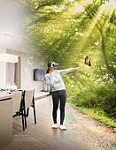 그래픽이미지, 합성, Virtual Reality (Concepts), 가상현실 (컨셉), 4차산업혁명 (산업혁명), 자연풍경 (교외전경), 실내, 환상, 행동 (모션), 여성