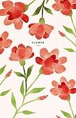 패턴, 꽃, 봄, 세밀화, 카네이션