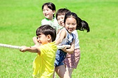 어린이 (인간의나이), 초등학생, 줄다리기, 즐거움, 미소
