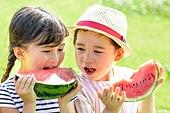 어린이 (인간의나이), 초등학생, 수박, 먹기