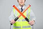 한국인, 누끼 (누끼), 건설현장 (인조공간), 건설업 (산업), 안전, 안전장비 (장비), 건설근로자 (노동자), 안전모, 안내 (컨셉), 정지표시, 신호봉 (응급장비)