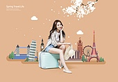 그래픽이미지, 합성, 일러스트, 평면 (물체묘사), 플랫디자인 (이미지), 여행, 라이프스타일, 휴가, 회복 (컨셉), 여성, 미녀 (아름다운사람), 랜드마크