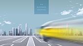 백그라운드, 비즈니스, 5G, 속도 (컨셉), 4차산업혁명, 무인자동차 (자동차), 도시