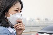 여성, 마스크 (방호용품), 대기오염 (공해), 기침