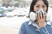 여성, 마스크 (방호용품), 대기오염 (공해), 날씨, 고통, 불안