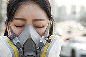 여성, 마스크 (방호용품), 대기오염 (공해), 날씨, 고통, 찡그림 (얼굴표정)