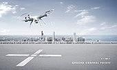 드론, 이륙, 착륙, 백그라운드, 비행장 (콩코스), 고층빌딩 (회사건물), 비즈니스, 도시